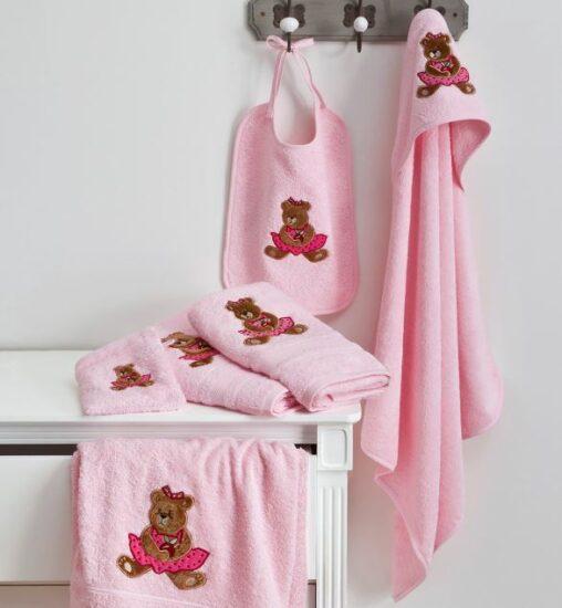 Gant, cape, peignoir, serviette ourson rose