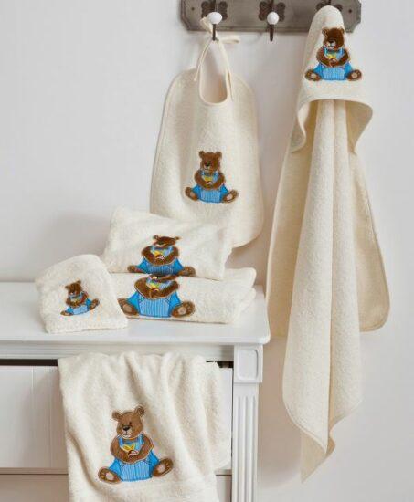 Gant, cape, peignoir, serviette ourson blanc