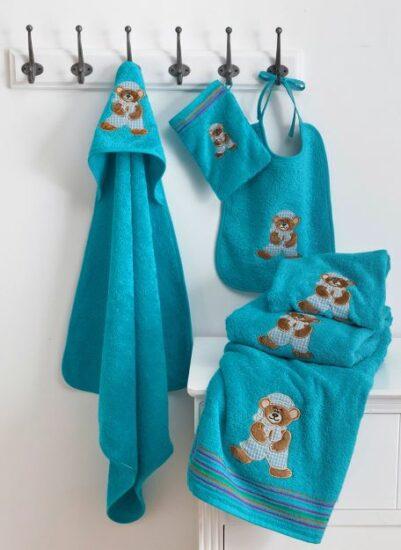 Gant, cape, peignoir, serviette ourson bleu