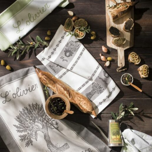 Linge de cuisine Herbe de Provence et oliver
