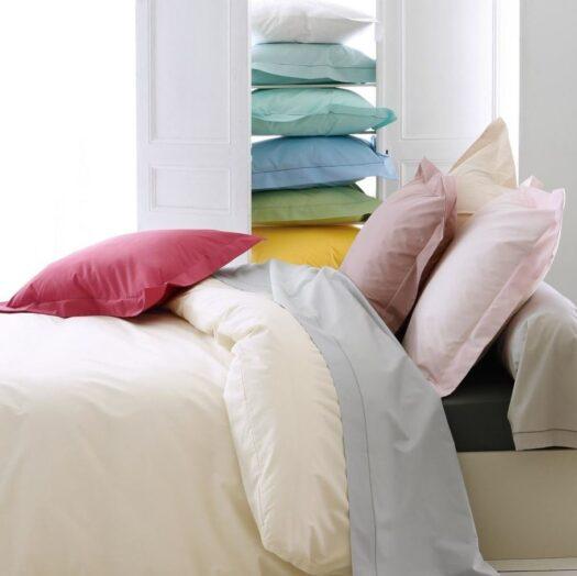 Linge de lit uni percale couleurs et blanc
