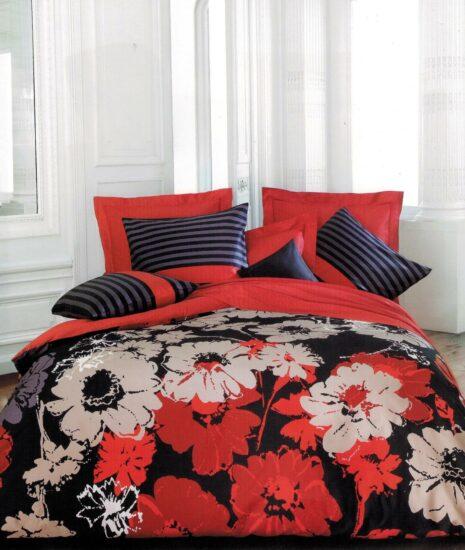 Linge de lit Vrancken Bouquet de fleurs rouges et roses