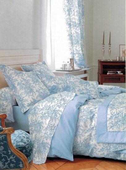 parure lit motif bleu