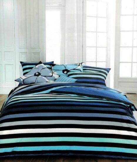 Linge de lit rayures multicolores nuit bleue