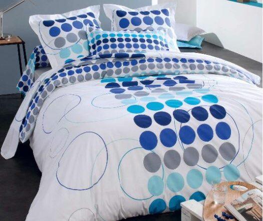 Linge de lit avec ronds multicolores bleus et gris