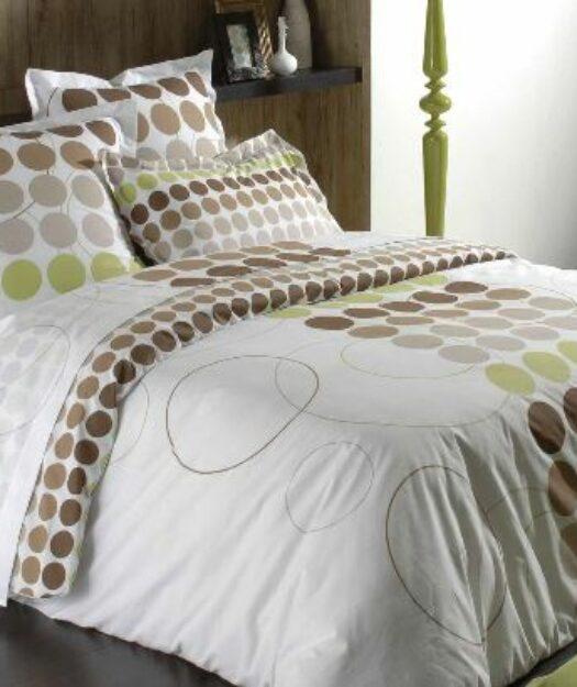 Linge de lit avec ronds multicolores beiges, gris et verts